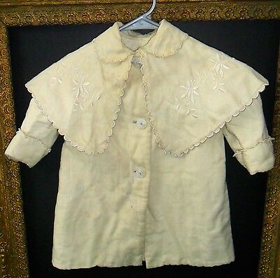 Antique Victorian EdwardianBaby Doll Infant Coat Embroidered Cape Cloak Collar