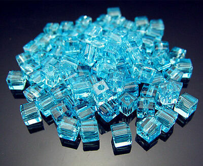 Square Crystal Free Loose 4mm 100PCS Cube Pendant Spacer #5601 Sky Blue Beads