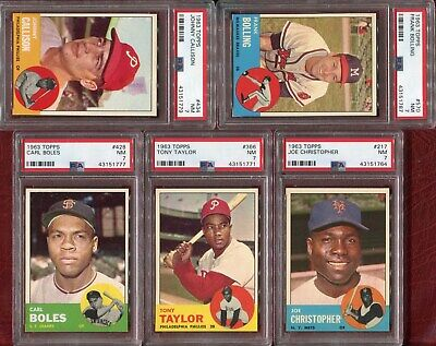 1963 Topps 5 Cards #217,#366 Taylor,#428,#434 Callison,#570 Bolling All Psa 7