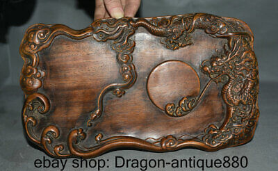 """11.6"""" Old Chinese Huanghuali Wood Dyansty Carved Dragon Ball inkstone inkslab"""