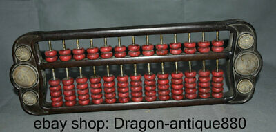 """16"""" Old Chinese Wood Inlay Red Turquoise Dynasty abacus counting frame Statue"""