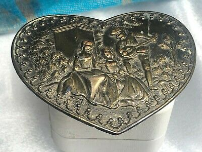 Vintage SOLID BRASS ADEZY Scene Heart  Belt Buckle ~ GORGEOUS L@@K!