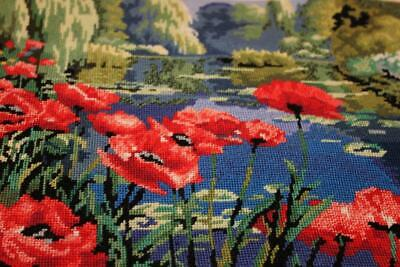 Finished Dimensions Lakeside Poppies Needlepoint Completed Floral