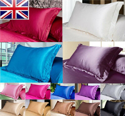 2X Silk Satin Duvet Cover Cushion Silky Bedding Set Fitted Sheet Pillow Cases UK