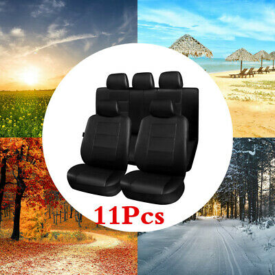 11X Car Seat Covers Full Set Front Rear Seat Cushion Mat Protector PU Leather