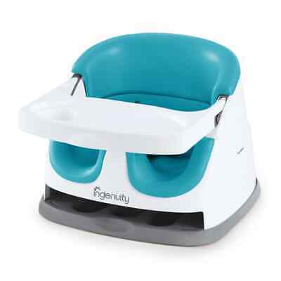 Ingenuity Baby Base 2-in-1 Booster Seat Peacock Blue Dinner Travel Highchair