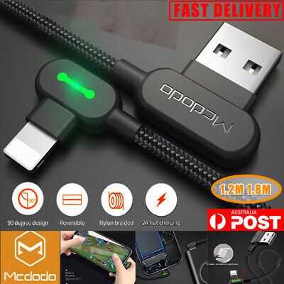 1.2M MCDODO 90 Degree Angle USB Charger lightning Cable Apple iPhone iPod iPad