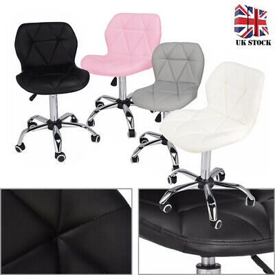 Adjustable Cushioned Swivel Chair Bar Stool Desk Office Chrome Legs Lift 360°