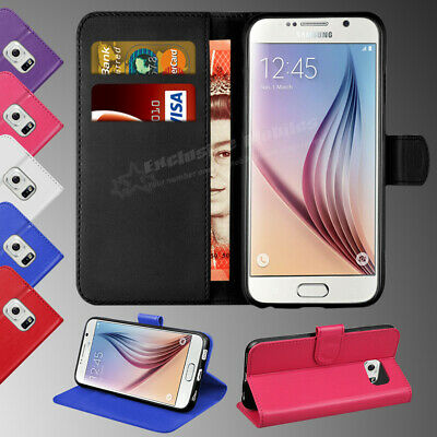 For Samsung Galaxy S6 Luxury Genuine Real Leather Flip Wallet Case Cover