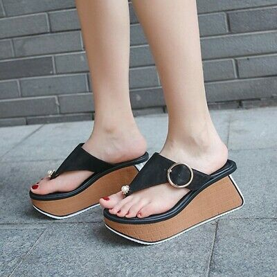 WOMENS FASHION LEATHER Thong Buckle Platform Wedge Sandals