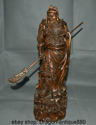 """16"""" Old Chinese Boxwood Wood Carving Guan Gong Yu Warrior God knight Sculpture"""
