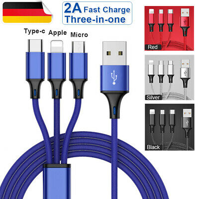 Universal 3 in1 Multi USB Charger Sync Kabel für Samsung Apple iPhone Alle Typ C