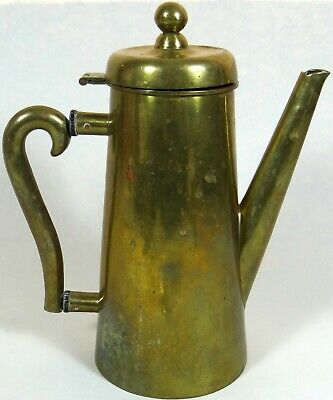 Antique Vtg Tea Coffee Pot Teapot Brass Wood Washers Copper Nails