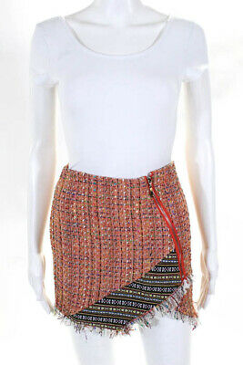 3acbed9f5 Endless Rose Multicolored Zip Up Fringe Trim Mini Skirt Size Small NEW