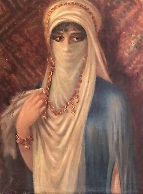 Large Antique Orientalist Signed Oil Painting - Portrait Of Lady With Veil
