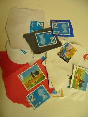 25 GB unfranked 2nd class Large letter mixed picture stamps on paper