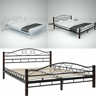4FT6 Double 5FT King 6FT Super King Size Metal Bed Frame with Slatted Base New