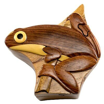 Wood Intarsia Tree Frog Puzzle Box - Secret Trinket Box Inside! Handcrafted New