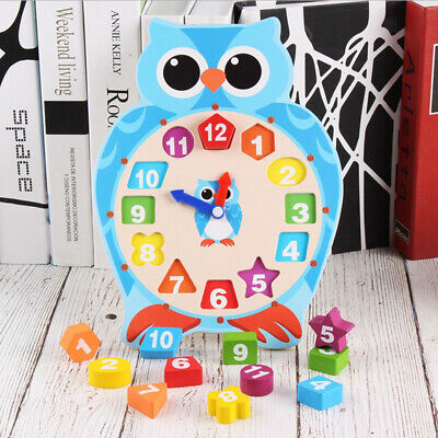 Owl/Frog Shape Blocks Sorting Clock Wooden Educational Puzzle Toy