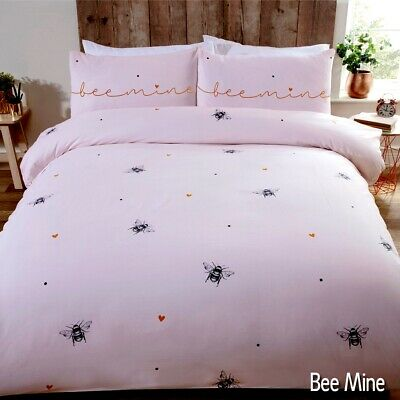 Bees & Hearts Pink Bee Mine Duvet Quilt Cover Bedding Set + Pillowcases