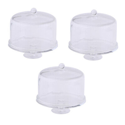 3pieces 1:12 Dollhouse Mini Cake Stand with Cover Bakery Party Buffet Supply