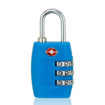 4-Dial TSA Combination Padlock Luggage Suitcase Bag Travel Security Lock Blue