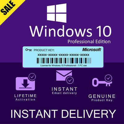 Instant Windows 10 Professional Pro 32|64 Bit Genuine Activation Key Microsoft