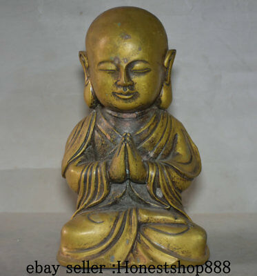 """8"""" Old China Copper Seat Heshang Buddhist Monk Shaveling Buddha Statue Sculpture"""