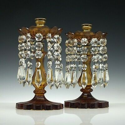 Pair of Victorian Amber Glass Lustres c1850