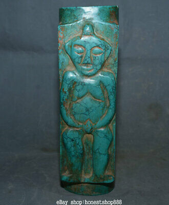 "10.6"" Rare Old Chinese Neolithic Hongshan Culture Turquoise Man Women Yu Cong10."