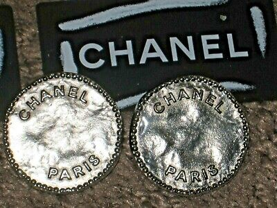 Chanel  Paris 2  Silver  , Enamel  Metal Buttons  22 Mm / Around 1'' New Lot 2