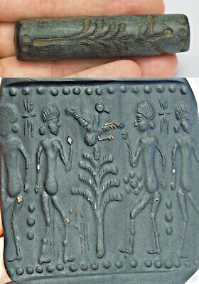 Ancient Lapis cylinder seal intaglio Rolling Bead Men Worship Goddess Bird bead
