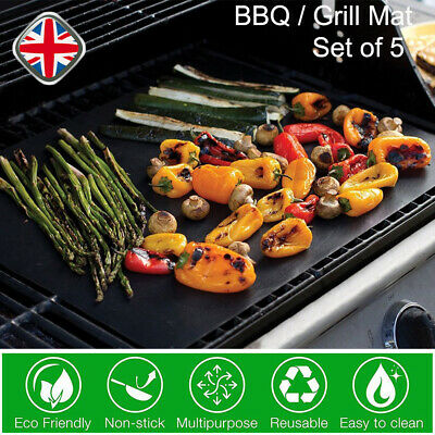 5PCS BBQ Grill Mat Non-stick Oven Teflon Cooking Barbeque Reusable Sheet Pad UK