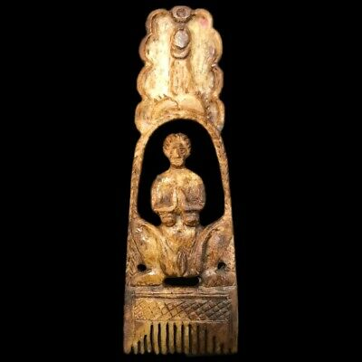 ANCIENT VERY RARE ROMAN PERIOD DECORATED EROTIC HAIR COMB 2nd-3rd Cent AD (1)