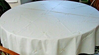 """Large 86"""" Ecru Linen Embroidered Wheat Tablecloth"""