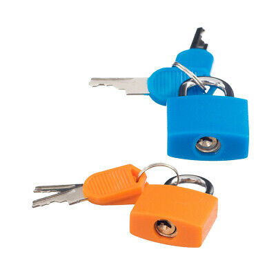 2 x Small Padlock with Four Keys for Luggage Suitcase Bag Orange & Sky Blue