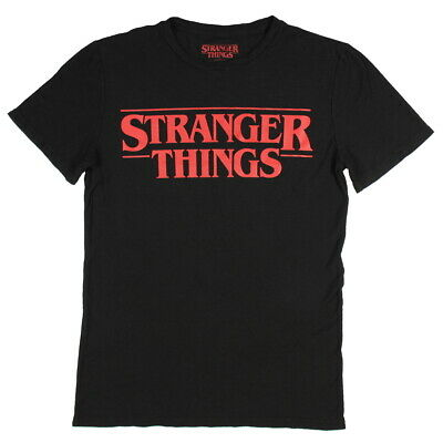 Stranger Things Official Television Series Men's Solid Logo T-Shirt