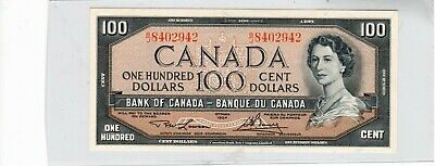 Bank of Canada, 1954 $100.00 Banknote, excellent condition, see details..