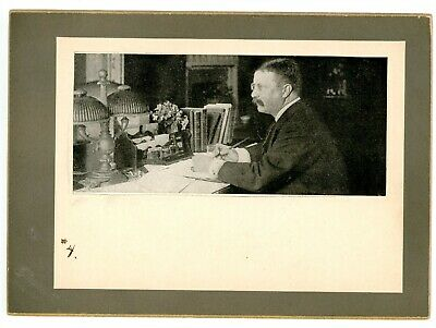 Political -THEODORE ROOSEVELT WORKING AT DESK- Vintage Mounted Print Teddy