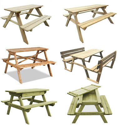 Outdoor Wooden Picnic Table Pressure Treated Picnic Bench  For Home Patio Pub