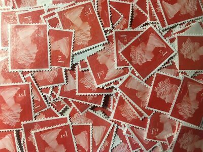 100(5) 1st Class (First) RED Unfranked Stamps Off Paper NoGum Security CHEAPEST!