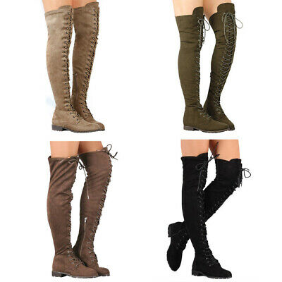 Womens Side Zip Over The Knee Boots Thigh High Combat Low Heel Shoe Rubber Sole