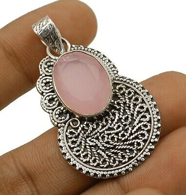 SALE Faceted Rose Quartz 925 Solid Sterling Silver Pendant Jewelry C19-7
