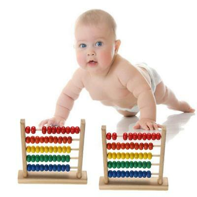 Wooden Bead Abacus Counting Frame Educational Learn Maths Toy W