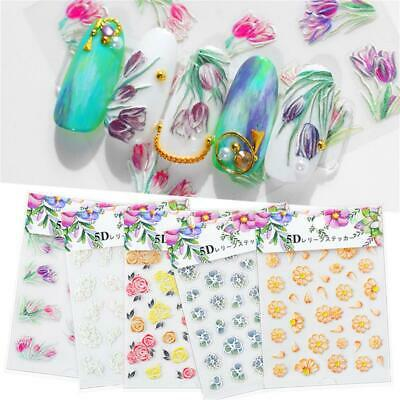 Nail Wrap Self Adhesive 3D Acrylic  Engraved Flower  Nail Embossed Stickers