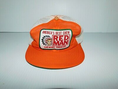 Vintage Red Man Chewing Tobacco Snapback Trucker Hat Orange with Indian Chief