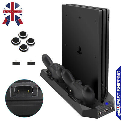 For PS4 Pro Accessories Vertical Stand Cooling Fan with Dual Charging Station UK