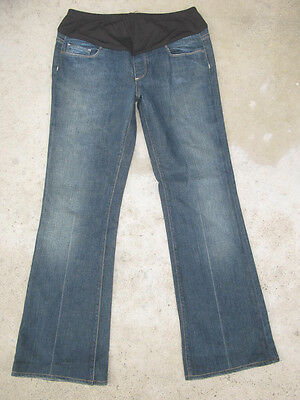 Paige Laurel Canyon Maternity Bootcut Jeans Sz 29 Dark Distressed L 29.25