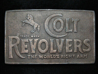 PD25132 VINTAGE 1970s **COLT REVOLVERS THE WORLDS RIGHT ARM** GUN BELT BUCKLE