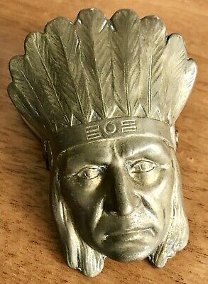 ANTIQUE Brass/Bronze AMERICAN Native INDIAN Figural Chief DESK PAPER CLIP German